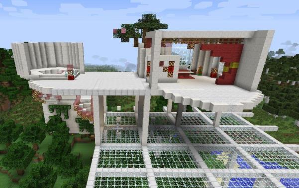 我的世界:铁桶村地形改造,建起铁桶墙跟照明