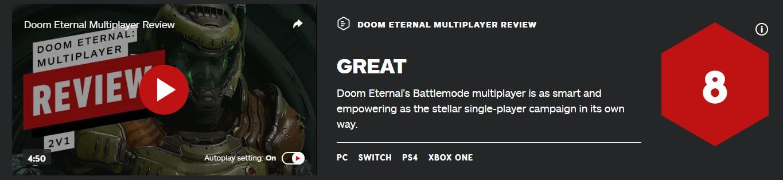 《毁灭战士:永恒》IGN多人模式评分 有趣聪明的
