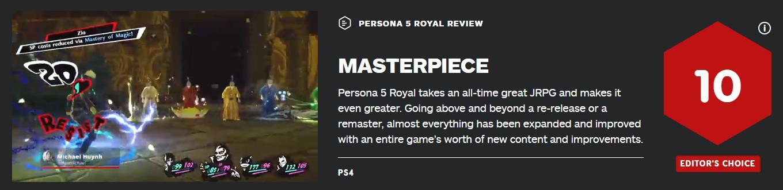 《P5R》IGN评分放出 JRPG类游戏领头羊