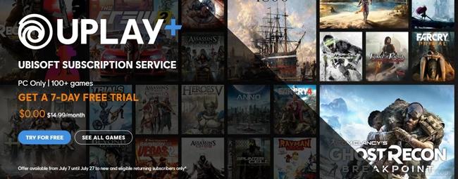 育碧Uplay+即日起免费福利开放 百款游戏免费试玩