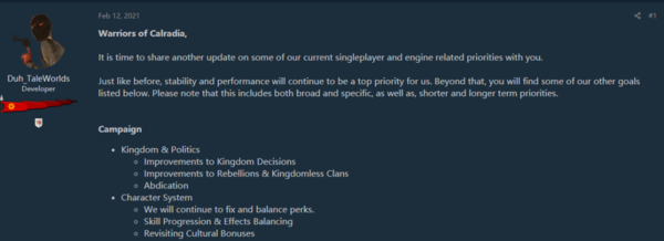 《骑马与砍杀2:领主》开发计划 添加新任务改进